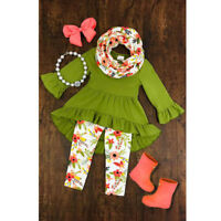 Child Kids Baby Girls Floral Outfits T Shirt Dress Top Leggings 3PCS Clothes Set