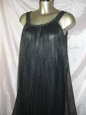 VINTAGE ORIGINAL BLACK MARY BARRON SILKY SOFT SHEER NIGHTGOWN SIZE SMALL
