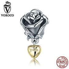 VOROCO Vintage Rose Dangle Dangle Charm 925 Sterling Silver With Gold Plating