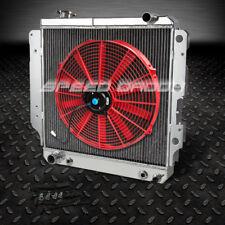 """3-ROW ALUMINUM RACING RADIATOR+16"""" RED FAN 87-06 JEEP WRANGLER YJ/TJ 2.4L-4.2L"""
