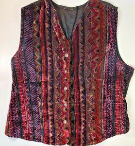 Womens Velvety Festival Vest Purple Black Aztec Hippie Boho Button Up 90s Y2K M