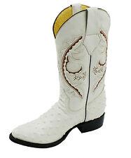Men Genuine Leather Ostrich Print J Toe Cow Boy Boots Style PR- Ostrich
