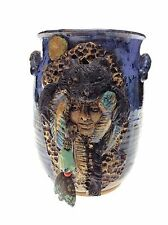 SIGNED POTTERY BEAR HEADRESS INDIAN CHIEF FACE INLAID TURQUOISE STONE BEADS