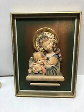 Anri Style 3-D Madonna Children Flowers Plaque - Hand Carved Wood 9x12