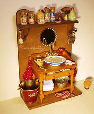 Waschtisch mit Waschschüssel,Wanne,Eimer,Kamm etc Rauchfangküche,Puppenhaus 1:12