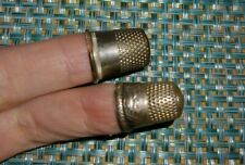 Set 2 Antique Silver Thimbles