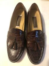 Mens Johnston & Murphy Cellini Aligator Loafers, Brown, Size 10.5