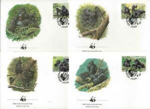 RWANDA - 1985 WWF 'MOUNTAIN GORILLA' Set of 4 First Day Covers [9413]