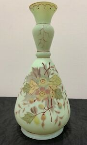 Victorian Satin Art Glass Vase Mint Green Hand Painted Flower Leaf Design