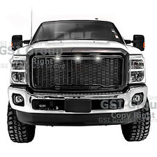 11-16 Ford Super Duty Raptor Style Gloss Black Mesh Grille+Shell+White LED light