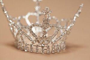 Mini Tiara Crown Newborn Flower Girl Photo Prop Rhinestone Crystal Bishop 4063