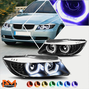 For 09-12 BMW E90 3-Series RGB Color LED Halo Projector Headlight Black Housing
