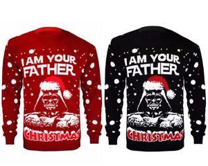 Kids Girls Boy Knitted Xmas Star Wars Vintage Darth Vader Novelty Jumper Sweater