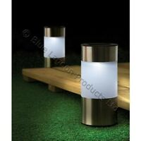 2 x Chrome Solar Power Light LED Outdoor Lighting Powered Garden Round Pathway