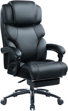 Kcream High Back 400lbs Leather Executive Chair Reclining Office Chair With Foot