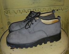 VINTAGE J CREW GRAY NUBUCK LEATHER LACE UP OXFORDS SHOES BROGUE 7.5 8 M CASUAL
