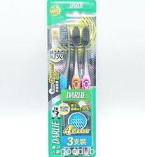 DARLIE 0.01mm Slim Tip Tapered Soft Charcoal Spiral Bristles Toothbrush 3 pcs