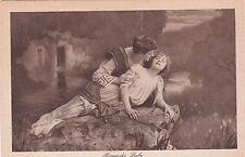 RARE Roman Love lovers man woman on the rock old German antique postcard