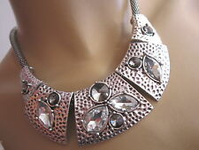 Damen Strass Collier Hals Kette Reif kurz Modekette Silber Statement Blogger B27