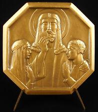 Médaille art-déco Le Christ Hostie célébration de l'Eucharistie sc E Blin medal