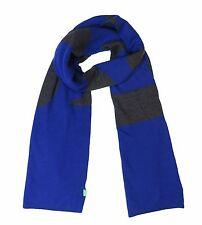 Nwt HUGO BOSS Mens Brand New Royal Blue Gray Knitties Logo Wool Scarf Scarve NIP