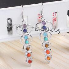 Silver Plated Snake Caduceus 7 Stone Beads Healing Chakra Point Women's Earrings