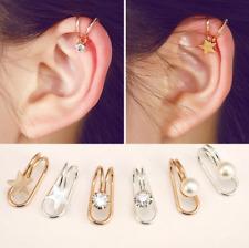 1pc Womens Ear Cuff Earrings Wrap Fashion Clip On Punk Rock Cuffs Fake Silver UK
