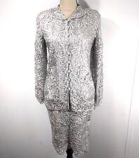 Carole Little Womens Suit Jacket Skirt Petite sz 6 Silk Gray Beaded Embroidered
