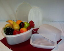 Tupperware WHITE Econo & Flavor Saver ~Chicken Turkey Ham Roast Fruit Snacks