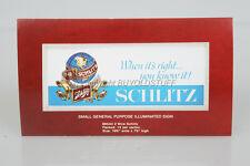 Original Schlitz Beer Illuminated Sign Dealer Advertising Card Old Stock