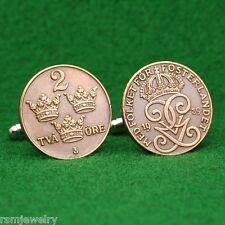 Swedish Vintage Prewar Bronze Coin Cufflinks, Sverige 2 Ore Sweden Gustaf V