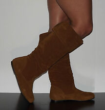 Womens Slouchy Riding Boots Flat Faux Suede Camel Brown Sz 7