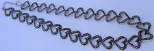"""Marcasite Open Heart Sterling Silver Chain Link Intricate Shiny 19"""" Necklace"""