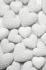 STUNNING SHABBY CHIC STLYE CANVAS WHITE ROSE HEARTS #793 PICTURE WALL ART A1