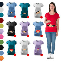 Maternity Pregnancy T-shirt Top Tunic Funny PEEK A BOO baby shower gift