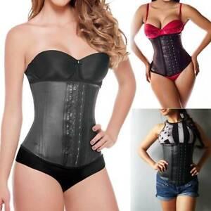 Women Latex Steel Boned Cincher Waist Trainer Body Shaper Tummy Control Corset