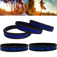 5x Back The Blue Wristbands Silicone Awareness Bracelets with Thin Blue Line NEW
