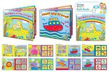 Baby Bath Books Plastic Coated Waterproof Numbers Shapes Bath Time Fun Books