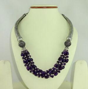 Necklace natural purple amethyst beaded gemstone handmade charming 105 grams