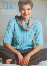 Ladies Cable short sleeve jumper top KNITTING PATTERN  32- 40 inch  cotton DK