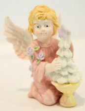 Kneeling Angel with Christmas Tree - Angel in Pink Outfit Classic Figure