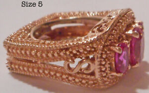 Lab Created Pink Sapphire ION Plated 18K RG Brass Ring. 5