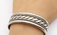 TAHE NAVAJO 925 Sterling Silver - Vintage Twist Detailed Cuff Bracelet - B7617