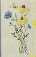 Flowers Fall Bouquet Cross Stitch Pattern from a magazine Blue Yellow Flowers