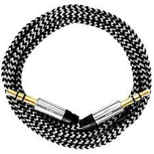 50cm/0,5m Nylon Audio Kabel AUX Klinke 3,5 für Autoradio iPhone 5 6 7 iPad weiß