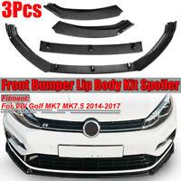 Carbon Fiber Style Front Bumper Lip Spoiler Cover For VW Golf MK7 MK7.5 2014-17