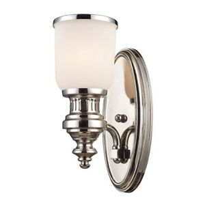 CHADWICK 1-LIGHT WALL LAMP IN POLISHED NICKEL WITH WHITE GLASS66110-1