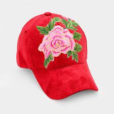 Womens Red Faux Suede Flower Patch Adj Baseball Cap
