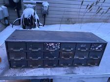 Vintage 18 Drawer Metal Parts Cabinet Equipto Industrial Shop Storage Machine