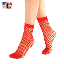 Women Girl Sheer Fashion Hot Sexy Stocking Hosiery Mesh Red Fishnet Ankle Socks